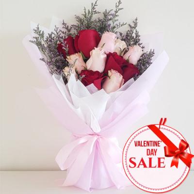 V-Day Dozen of Mixed Roses Bouquet