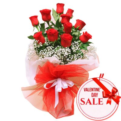 11 Pcs. Red V-Day Roses in Bouquet