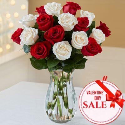 Valentine's 18 Mixed Roses in Vase